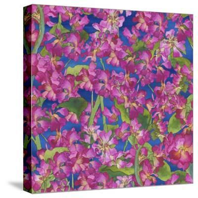 Dance Of Love- Pink Flowers Repeat-Carissa Luminess-Stretched Canvas Print