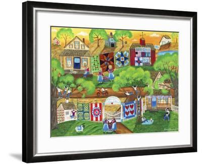 Olde Tyme Village Quilt Maker-Cheryl Bartley-Framed Giclee Print