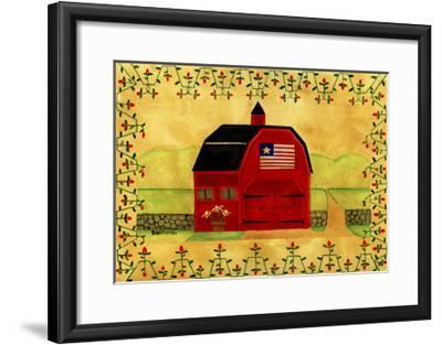 Primtive American Red Folk Art Barn-Cheryl Bartley-Framed Giclee Print