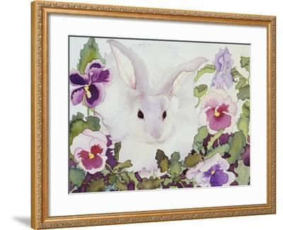Bunny with Pansies-Carissa Luminess-Framed Giclee Print