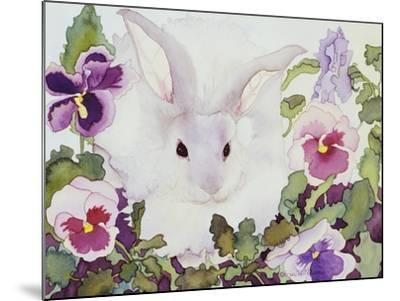Bunny with Pansies-Carissa Luminess-Mounted Giclee Print