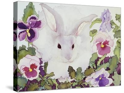 Bunny with Pansies-Carissa Luminess-Stretched Canvas Print