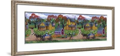 American Primitive Sunflower Pumpkin Farm Border-Cheryl Bartley-Framed Giclee Print