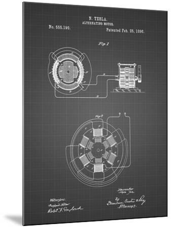 PP505-Black Grid Tesla Alternating Motor Patent Poster-Cole Borders-Mounted Giclee Print