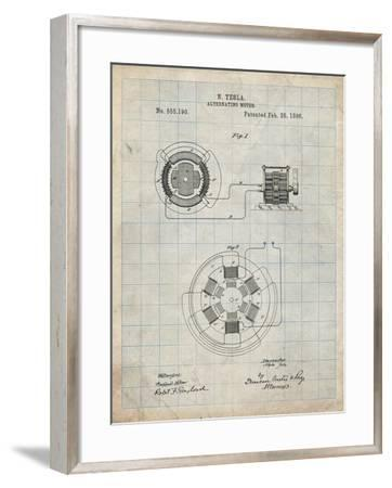 PP505-Antique Grid Parchment Tesla Alternating Motor Patent Poster-Cole Borders-Framed Giclee Print