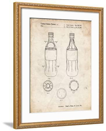 PP432-Vintage Parchment Coke Bottle Display Cooler Patent Poster-Cole Borders-Framed Giclee Print