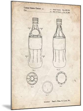 PP432-Vintage Parchment Coke Bottle Display Cooler Patent Poster-Cole Borders-Mounted Giclee Print