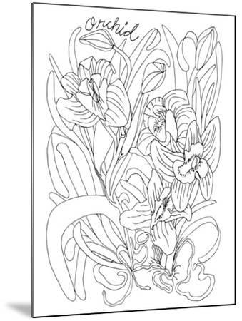Botanical Orchid BW for Coloring-Cyndi Lou-Mounted Giclee Print