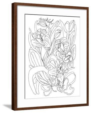 Botanical Orchid BW for Coloring-Cyndi Lou-Framed Giclee Print