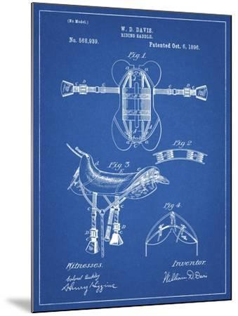 PP444-Blueprint Horse Saddle Patent Poster-Cole Borders-Mounted Giclee Print