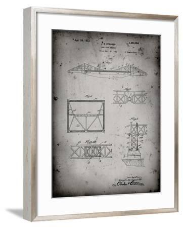 PP350-Faded Grey Golden Gate Bridge Patent Poster-Cole Borders-Framed Giclee Print