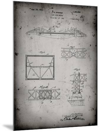 PP350-Faded Grey Golden Gate Bridge Patent Poster-Cole Borders-Mounted Giclee Print