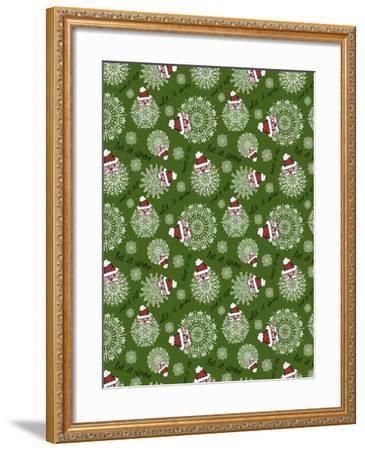 Christmas Santa Snowflakes Repeat-Cyndi Lou-Framed Giclee Print