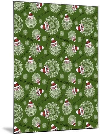 Christmas Santa Snowflakes Repeat-Cyndi Lou-Mounted Giclee Print