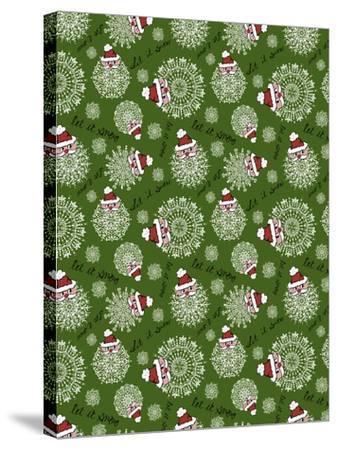 Christmas Santa Snowflakes Repeat-Cyndi Lou-Stretched Canvas Print
