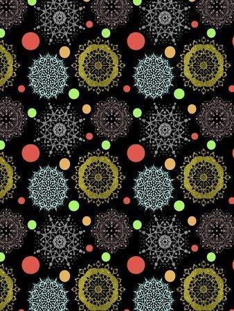 Snowflakes & Polka Dots Black-Cyndi Lou-Framed Giclee Print