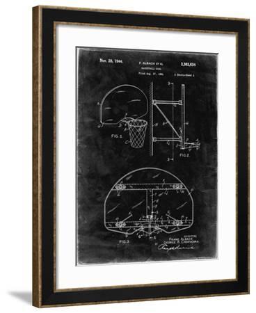 PP381-Black Grunge Basketball Goal Patent Print-Cole Borders-Framed Giclee Print