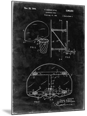PP381-Black Grunge Basketball Goal Patent Print-Cole Borders-Mounted Giclee Print