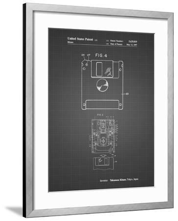 PP87-Black Grid 3 1/2 Inch Floppy Disk Patent Poster-Cole Borders-Framed Giclee Print
