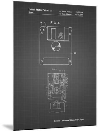 PP87-Black Grid 3 1/2 Inch Floppy Disk Patent Poster-Cole Borders-Mounted Giclee Print