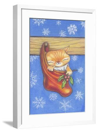 Christmas-Stocking-Kitty-Cindy Wider-Framed Giclee Print