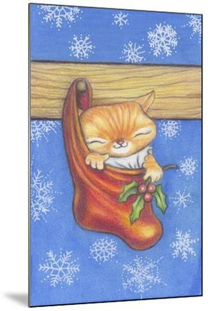 Christmas-Stocking-Kitty-Cindy Wider-Mounted Giclee Print