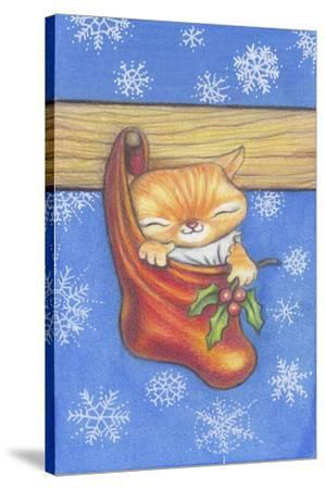 Christmas-Stocking-Kitty-Cindy Wider-Stretched Canvas Print