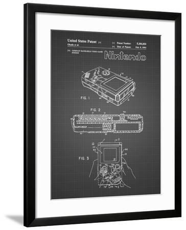 PP70-Black Grid Nintendo Game Boy Poster-Cole Borders-Framed Giclee Print