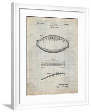 PP71-Antique Grid Parchment Football Game Ball Patent-Cole Borders-Framed Giclee Print