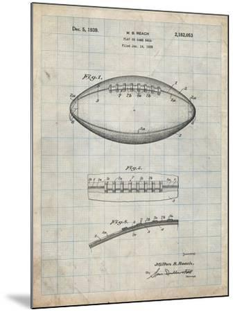 PP71-Antique Grid Parchment Football Game Ball Patent-Cole Borders-Mounted Giclee Print