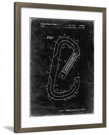 PP83-Black Grunge Oval Carabiner Patent Poster-Cole Borders-Framed Giclee Print