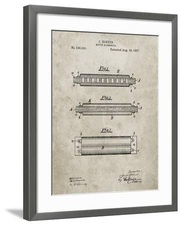 PP94-Sandstone Hohner Harmonica Patent Poster-Cole Borders-Framed Giclee Print