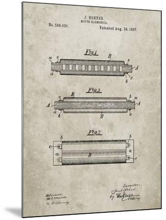 PP94-Sandstone Hohner Harmonica Patent Poster-Cole Borders-Mounted Giclee Print
