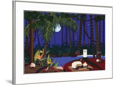 Red Wine And Cheese Under The Moonlight-Cindy Wider-Framed Giclee Print