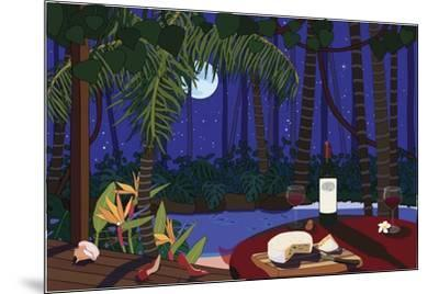 Red Wine And Cheese Under The Moonlight-Cindy Wider-Mounted Giclee Print