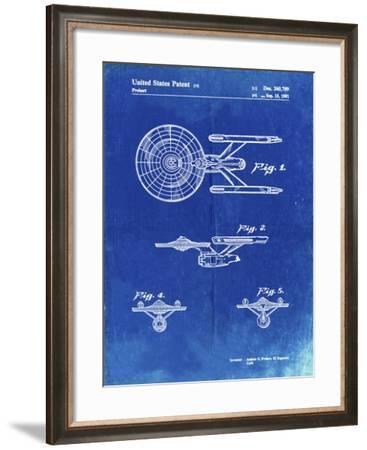 PP56-Faded Blueprint Starship Enterprise Patent Poster-Cole Borders-Framed Giclee Print