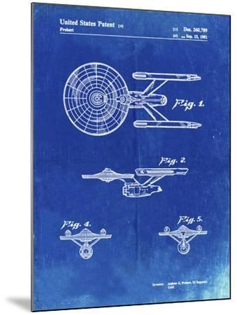 PP56-Faded Blueprint Starship Enterprise Patent Poster-Cole Borders-Mounted Giclee Print