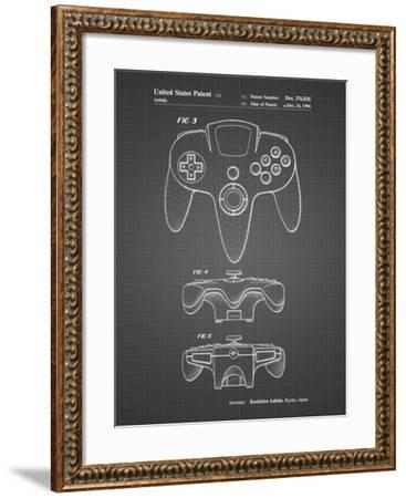 PP86-Black Grid Nintendo 64 Controller Patent Poster-Cole Borders-Framed Giclee Print