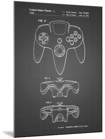 PP86-Black Grid Nintendo 64 Controller Patent Poster-Cole Borders-Mounted Giclee Print