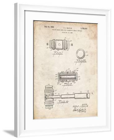 PP85-Vintage Parchment Gavel 1953 Patent Poster-Cole Borders-Framed Giclee Print