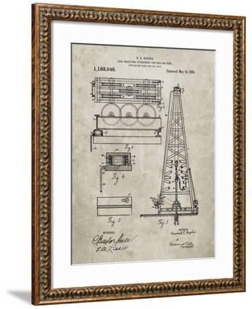 PP66-Sandstone Howard Hughes Oil Drilling Rig Patent Poster-Cole Borders-Framed Giclee Print