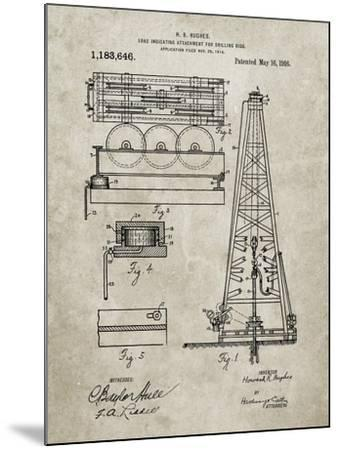 PP66-Sandstone Howard Hughes Oil Drilling Rig Patent Poster-Cole Borders-Mounted Giclee Print