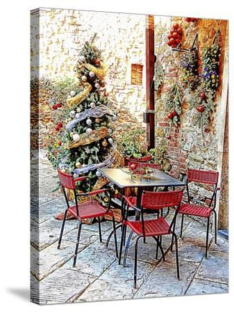 Dining Outside At Christmas Panicale-Dorothy Berry-Lound-Stretched Canvas Print