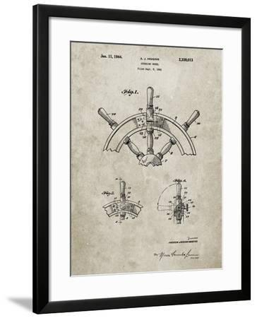 PP228-Sandstone Ship Steering Wheel Patent Poster-Cole Borders-Framed Giclee Print