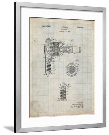 PP265-Antique Grid Parchment Vintage Hair Dryer Patent Poster-Cole Borders-Framed Giclee Print