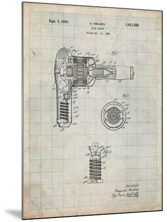 PP265-Antique Grid Parchment Vintage Hair Dryer Patent Poster-Cole Borders-Mounted Giclee Print