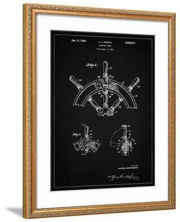 PP228-Vintage Black Ship Steering Wheel Patent Poster-Cole Borders-Framed Giclee Print