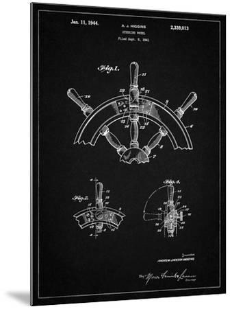 PP228-Vintage Black Ship Steering Wheel Patent Poster-Cole Borders-Mounted Giclee Print