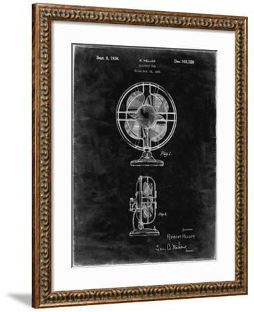 PP266-Black Grunge Table Fan Patent Poster-Cole Borders-Framed Giclee Print