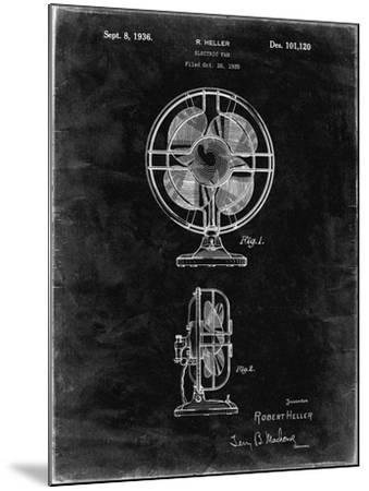 PP266-Black Grunge Table Fan Patent Poster-Cole Borders-Mounted Giclee Print